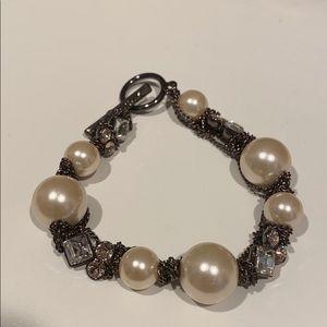 Givenchy Pearl Rhinestone Chain Toggle Bracelet